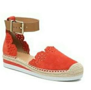 """Brixie"" wedge sandal, deep orange/""Flame"" color"